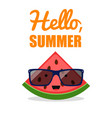 comic watermelon sunglasses fruit character vector image vector image