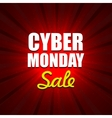 cyber monday background with sale tag on red vector image