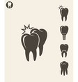 Dental hygiene Stylized teeth on gray background vector image vector image