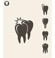 dental hygiene stylized teeth on gray background vector image vector image