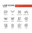 Drones - line design icons set vector image vector image