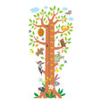 fairy tree with animals meter wall or height chart vector image