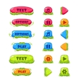 fruitey cartoon buttons set vector image vector image