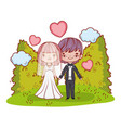 girl and boy couple with hearts and clouds vector image vector image