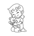 girl playing with her bear doll bw vector image vector image