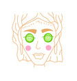 girl spa with cucumbers on eyes icon flat vector image vector image