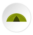 green tent for camping icon circle vector image vector image