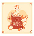 greeting card with cute rabbit and fox vector image vector image