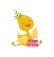 happy smiling little yellow duckling character in vector image vector image