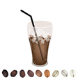 Iced Coffee and beans vector image vector image