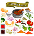 ingredient for indian chicken curry recipe vector image vector image