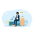 man sitting on laggage and waiting for taxi cab vector image vector image