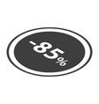 minus 85 percent sale black icon isometric style vector image