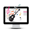 music project with guitar and notes on computer vector image vector image