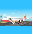 people tourists boarding on a cruise airplane vector image