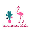 pink flamingo christmas and happy new year vector image vector image