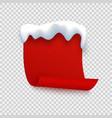 red banner with snow cap paper curled page for vector image vector image