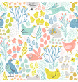 seamless pattern with bunnies and chicken vector image vector image