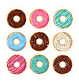 set of cartoon donuts vector image