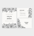 set of elegant wedding invitation response card vector image