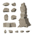 set of rock stone stones rocks in variuos sizes vector image