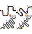set of winding roads with signs movement of vector image vector image