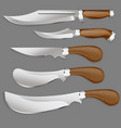 set the hunting knife with a wooden handle in a vector image