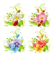 Summer banner set with flower and insect icons and vector image vector image