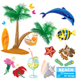 summer beach elements set vector image vector image