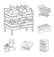 supermarket and equipment outline icons in set vector image vector image