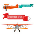 two biplanes with advertising posters air vector image vector image