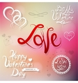 Valentines elements for greeting card vector image vector image