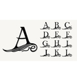 vintage set 1 calligraphic capital letters vector image vector image