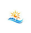 waves sunrise logo symbol icon design vector image