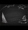 Yacht in ocean drawn on blackboard vector image vector image