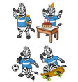 zebra cartoon set vector image vector image