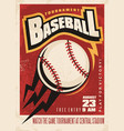 baseball tournament retro poster design vector image