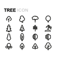 line tree icons set vector image