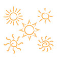 abstract brush style sun isolated summer ic vector image
