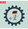 Businessman with briefcase running in gear wheel - vector image