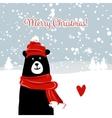 Christmas card with white santa bear vector image