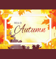 autumn background with white frame vector image