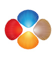 Four different colored seashells vector image