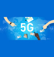 5g phone technology connect worldwide smart and vector image