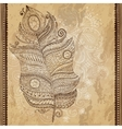 Artistically drawn stylized tribal graphic feather vector image