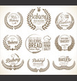 bakery labels laurel wreaths design collection vector image vector image