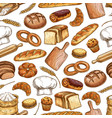 bread and pastry food seamless pattern background vector image