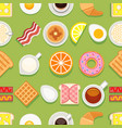 breakfast seamless texture cartoon style vector image