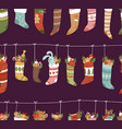 christmas socks santa xmas new year gift vector image vector image