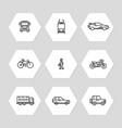 city transportation line icons set - cars train vector image vector image